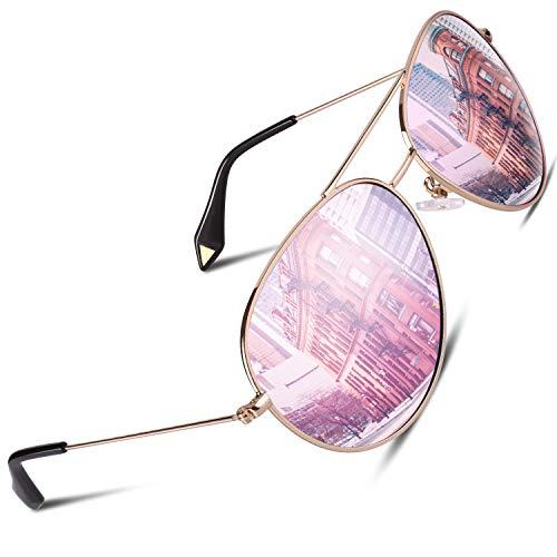 GQUEEN Pilotenbrille Damen Übergroß Fliegerbrille Sonnenbrille Verspiegelt MZZ9