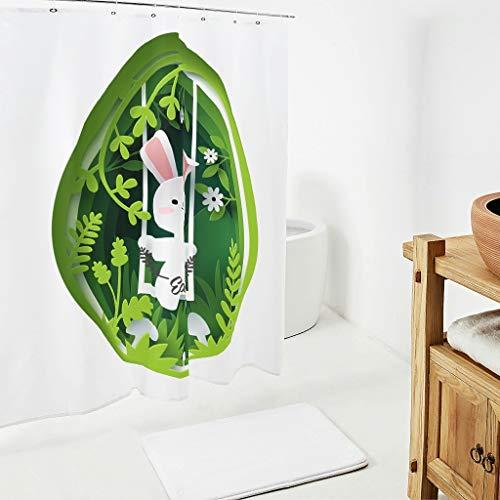 Zhcon Pasen konijn patroon douchegordijn liner met gratis haken niet giftig bad gordijn bad gordijnen