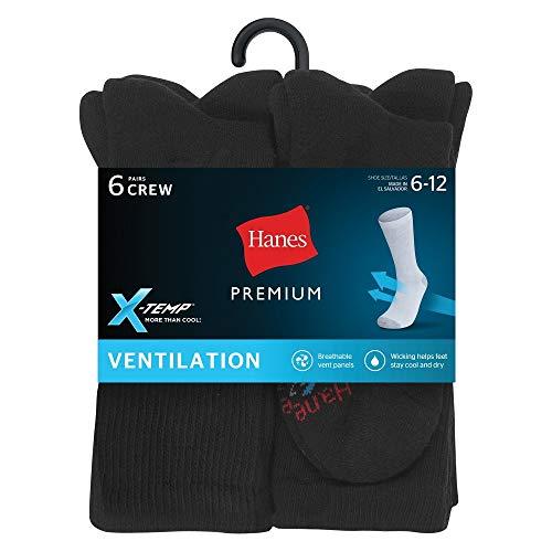 Hanes Premium Men's X-Temp Breathable Crew Socks 6pk - Black