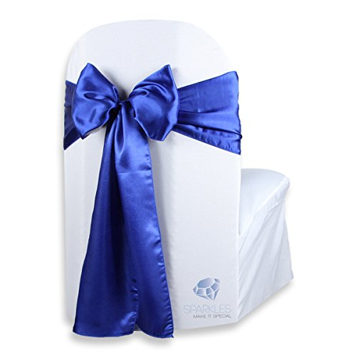 Sparkles Make It Special 100 pcs Satin Chair Cover Bow Sash - Royal Blue - Wedding Party Banquet Reception - 28 Colors Available