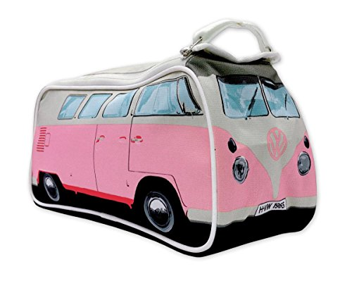 VW Bulli Kulturbeutel rosa mit Innenfächern - robuste Kosmetiktasche, Waschbeutel, Kulturtasche, Washbag (31 x 15 x 11 cm)