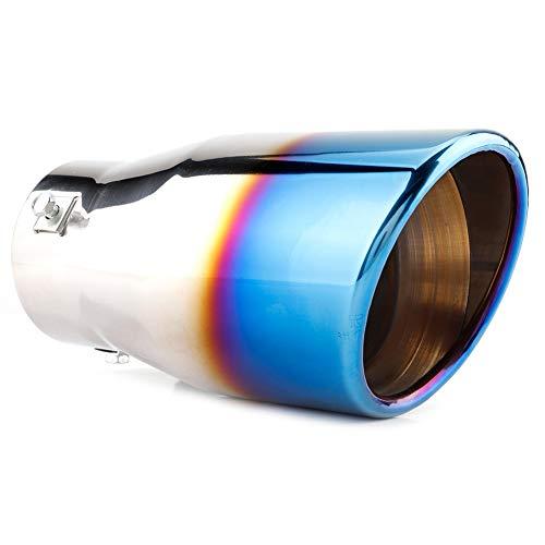 Coche Modificado Tubo de escape Punta de silenciador trasero Cola de garganta Acabado de cromo Acero inoxidable Universal Duokon Punta de silenciador de escape trasero