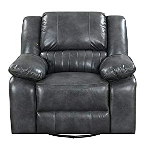 Gray Swivel Recliner Glider with Faux Leather Upholstery-Rocking Chair-Rocking Chair for Nursery-Baby Rocker-Glider Rocker with Ottoman-Glider Rocker-Rocker Recliner-Nursery Rocking Chair