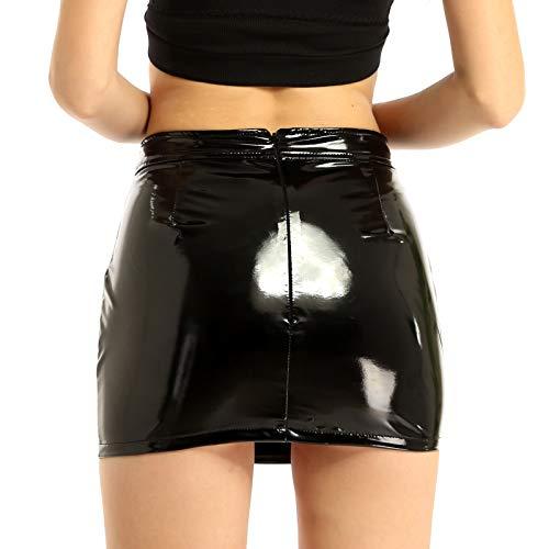 MSemis Minirock Damen Wetlook Bodycon Leder Latex Figurbetont Stretch Bleistiftrock mit Reißverschluss Mini Dress Clubwear schwarz S-XL Schwarz L