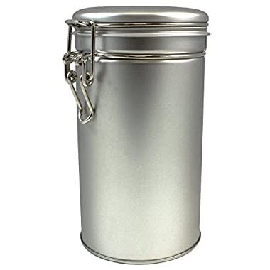 Canister Set with Airtight Lids - Kitchen Canisters for Tea Coffee Sugar Storage, Latching Tea Tin Container, Stainless Steel Coffee Canister with Clamp Lid - 12 oz (Set of 1)