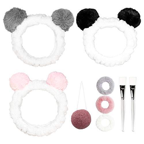 Haarband 3 Stück Stirnband Kosmetik Haarbänder Stirnbänder mit Ohr für Frauen und Mädchen, Plüsch Stirnband Elastische Haarband Haarschmuck für Gesicht Waschen, Make-up, Dusche oder Spa Maske (Panda)