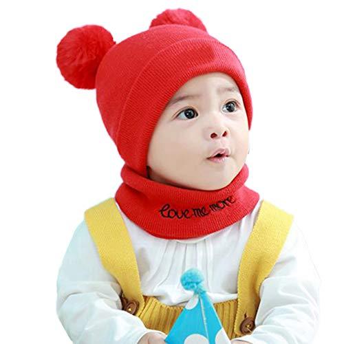 E-House Bonnet chaud en tricot pour nouveau-né avec pompons Bleu