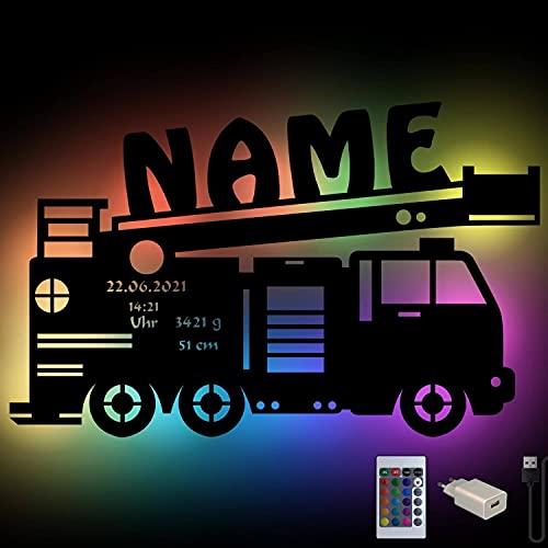 RGB USB personalisierte Feuerwehr-Auto Wand-Leuchte Nachtlicht Geschenke mit Namen Schlummerlicht Baby-Zimmer Kinder-Zimmer Holz Wand-Lampe Junge Mädchen