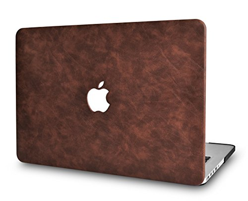 LuvCaseLaptopCaseforMacBookAir 13 Inch A1466 / A1369 (No Touch ID)LeatherHardShellCover (Brown Cow Leather)