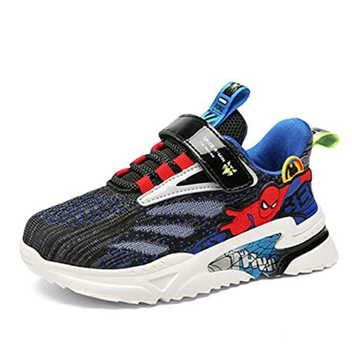 Xyh723 Enfants Spiderman Sneakers Garçons en Plein Air Mode Formateurs Enfant Tennis Football Chaussures Adolescent Running De Sport Anniversaire Cadeau Noël,Blue-27 17CM