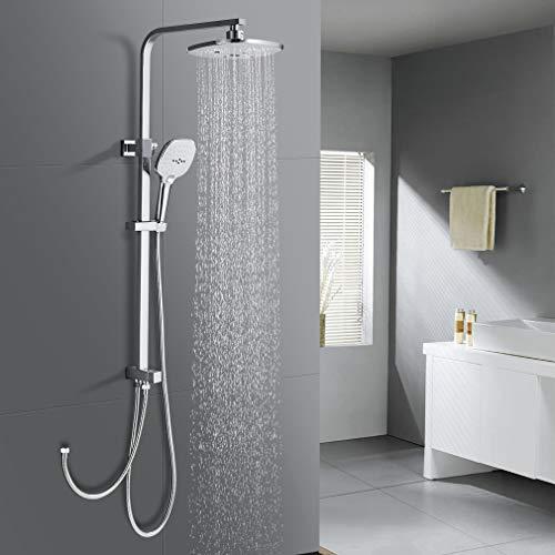 WOOHSE Duschsäule ohne Wasserhahn Regendusche Duscharmatur Duschkopf Duschsystem inkl Handbrause 3 Strahlarten Shower Set, Höhenverstellbar 68-113,5 cm