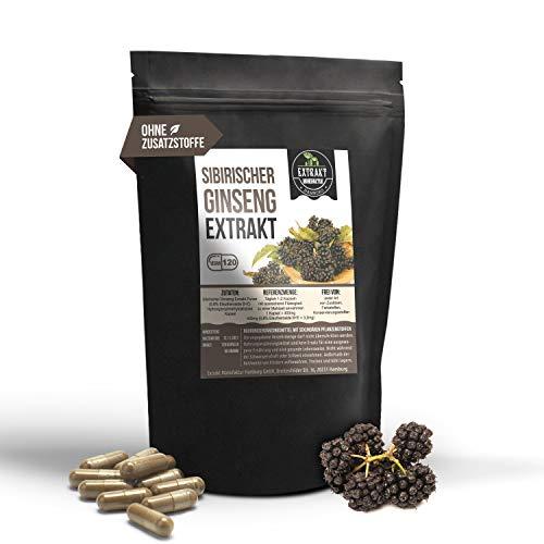 Sibirischer Ginseng 10:1 Extrakt | 0,8% Eleutheroside | 120 KAPSELN 400mg hochdosiertes Extrakt | ohne Füll- & Fließmittel | laborgeprüft |100% vegan & in Deutschland hergestellt. (120 Kapseln)