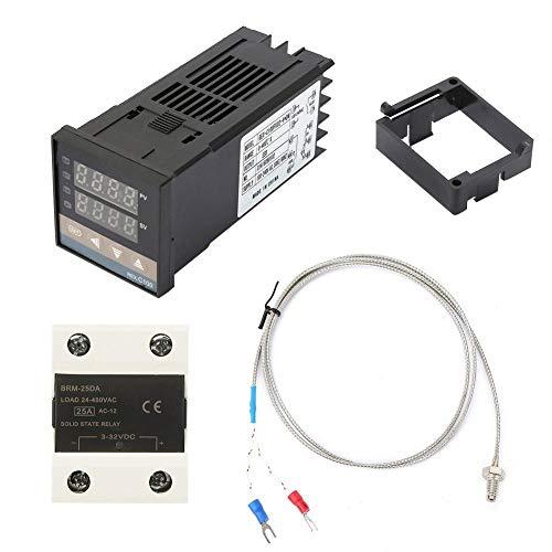 LANTRO JS - Kits de controlador de temperatura PID digital AC 110-240V 0-400 ℃ + 25A SSR + 1m M6 K tipo termopar, temperatura de visualización