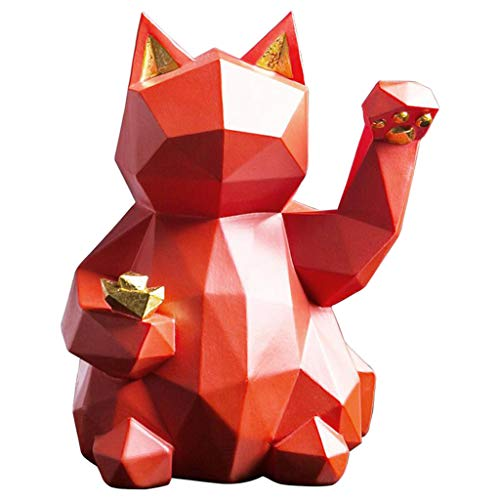 FLAMEER Lucky Cat Modern Figurine Wealth Welcoming Cute Carving Cat Good Luck Wealth Welcoming Kitten Home Display Decor Shelf Decoration - Red