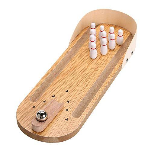 Vetrineinrete Mini Bowling in Legno Gadget Portatile con Birilli e Palla Gioco da Tavolo per Bambini e Adulti 30 x 10 cm