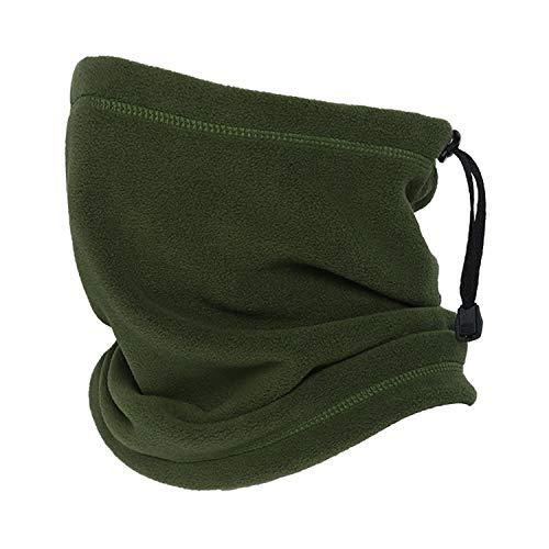 Oscenny Snood - Ghette da collo con coulisse, 350 g di spessore, elasticizzate, antistatiche, in pile, lavabile per climi freddi, per uomini e donne, sci, ciclismo, moto (verde militare)