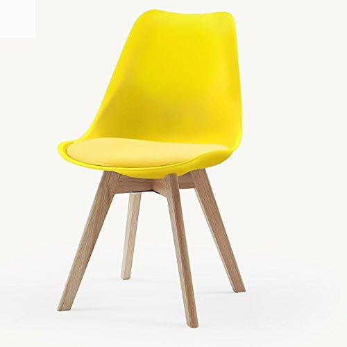 KFXL yizi chaise Chaise en bois massif à manger décontracté chaise Cafe 4 couleurs disponibles 81 * 49cm (Couleur : Le jaune)
