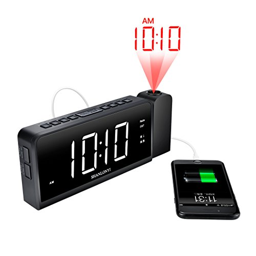 Projection Alarm Clock with AM/FM Radio, 180°Projector, 7