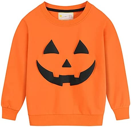 Toddler Boys Girls Sweatshirt Halloween Pumpkin Shirt Long Sleeve Glow in Dark Skeleton Tops