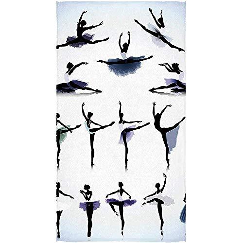 Toallas De Baño,Toalla De Baño De Utilidad De Decoración De Apartamentos, Bailarinas De Ballet Femenino Siluetas Ilustración Diseño Artístico Imprimir para Deporte Gimnasio Correr