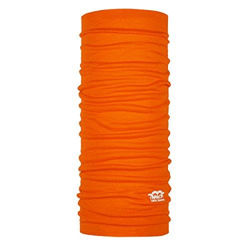 P.A.C. Merino Wool Bright Orange Multifunktionstuch - Merinowoll Schlauchtuch, Halstuch, Schal, Kopftuch, Unisex, 10 Anwendungsmöglichkeiten