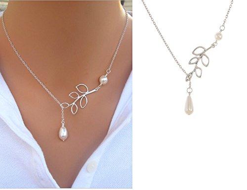 VAGA - Elegante collar ajustable de cadena fina de color plateado con colgante de perlas blancas y decoración en forma de hojas