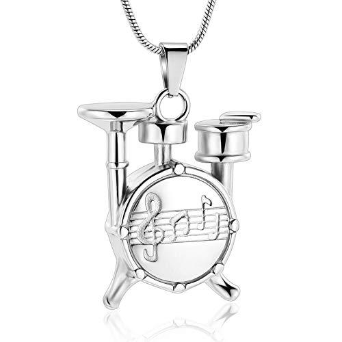 NIUBKLAS Collar de Tarro de cremación Conjunto de batería único, Collar con Amuleto Musical, urna para Mascotas/Colgante de cremación Humana, joyería para Cenizas, joyería de cremación