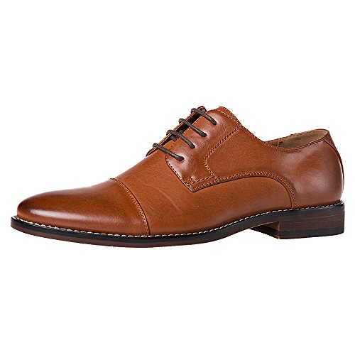 J's.o.l.e Mens Dress Shoes Formal Wingtip Oxford Shoes for Men Cap Toe Lace Up Brown US 9