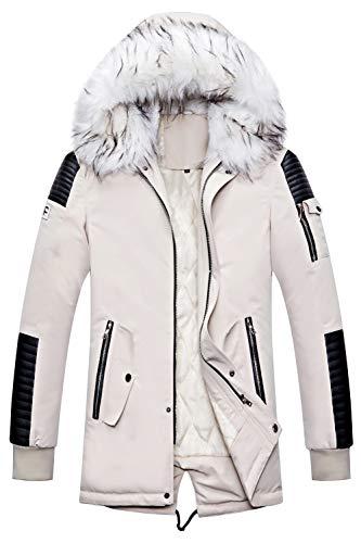 JIINN Neu Herren Winter Warm Lange Daunen Gepolstert Jacke Abnehmbar Pelz Hood Parka Winddicht Mit Kapuze Steppjacke Mantel (X-Large, Weiß)