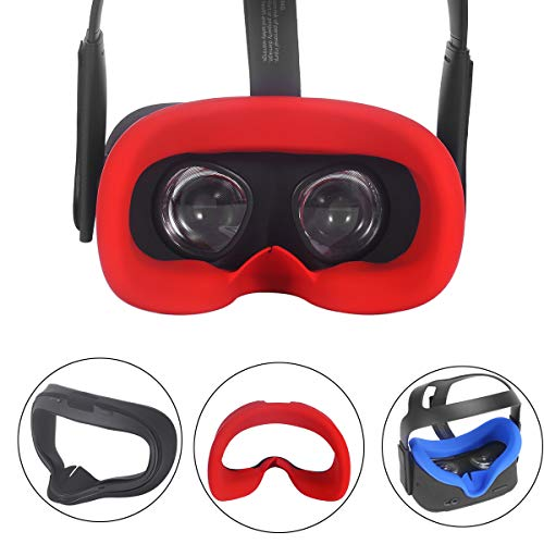 Esimen VR Face Silicone Mask Pad & Face Cover for Oculus Quest Face Cushion Cover Sweatproof Lightproof (Red)