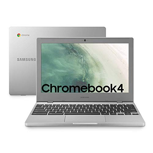 "Samsung Chromebook 4, Computer Portatile XE310XBA Chrome OS, Processore Celeron N4000, RAM 4 GB LPDDR4, 64 GB SSD, Display 11.6"" Full HD LED, UHD Graphics 600, USB-C, Argento (Platinum-Titan)"