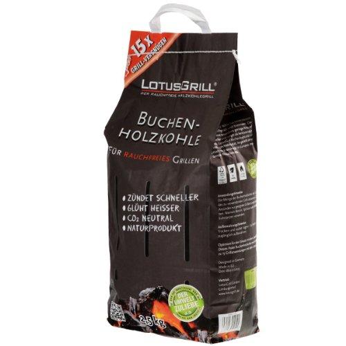 LotusGrill Buchenholzkohle 2,5 kg Sack, Mehrfarbig, 37,9 x 25,3 x 18,2