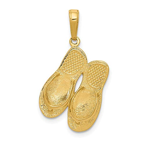 14ct Yellow Gold 3-D Maui Aloha Flip-Flops Pendant
