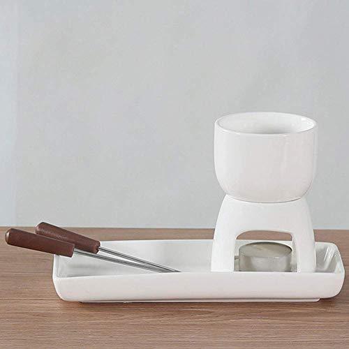 AJH 150ML Schokoladenbrunnen Keramikschokoladeneis Schmelztiegel Schokoladenfondue mit 2 Gabeln für die Weihnachtsküche zu Hause, Typ B.