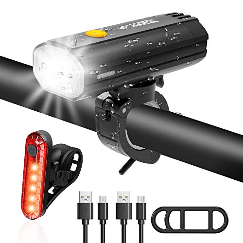 WOTEK Bike Light Set, Super Bright USB Rechargeable Bicycle Lights, Waterproof Mountain Bike Lights Rechargeable, Safety & Easy LED Cycle Lights, USB Cycling Front Light & Rear Light