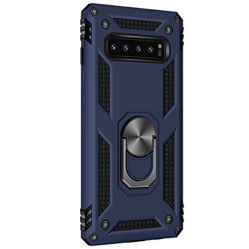 Lasvos Compatible with Hülle Samsung Galaxy S10/S10 Plus/S10 E Cover TPU PC Ständer Schutzfolie 360 Grad Ring Stand Bumper Dünn Schwarz Handyhülle für Galaxy S10 (Blau, Samsung Galaxy S10)