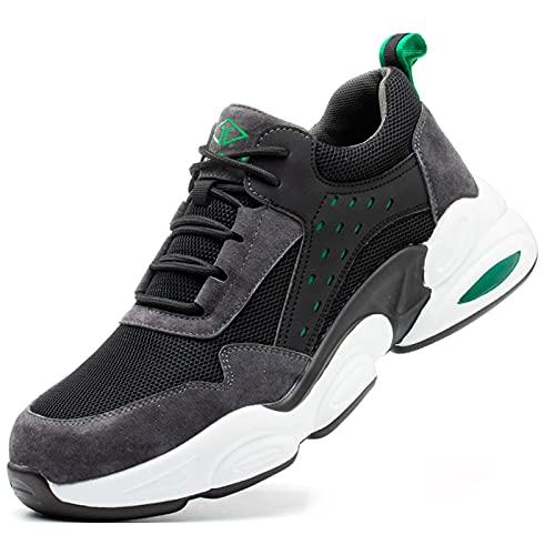 HOUJIA Zapatos de Trabajo,Botas de Seguridad para Hombres ultraligeros Zapatos de Acero con Punta de Seguridad,Reflexivo Zapatillas industriales Transpirables y cómodas,Zapatos de Seguridad