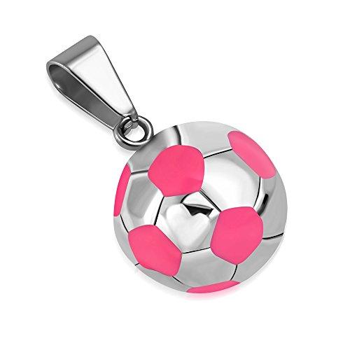 BlackAmazement Anhänger 316L Edelstahl Fußball Football Ball Halskette Leder Kette Silber rosa weiß blau schwarz Damen Herren (Farbe Rosa mit Kette)