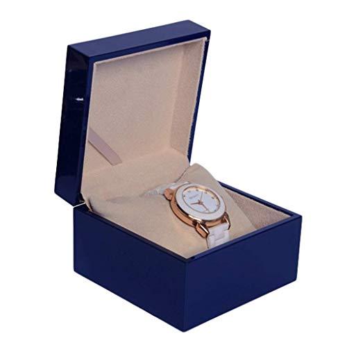 XYZMDJ Caja del Reloj de la exhibición de Almacenamiento Caja Caja de Reloj con Top, Perforado Suave Almohadas Sostiene Disponible en Dos tamaños (Color : Blue, Size : Square)