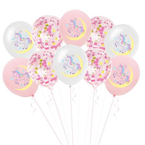 BESTOYARD 10 stücke Latex Luftballons Niedliche Einhorn Luftballons Runde Glitter Konfetti Luftballons Helium Luftballons für Baby Shower Kids Birthday Party Supplies Dekorationen