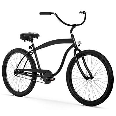 "sixthreezero Men's In The Barrel Single Speed Beach Cruiser Bicycle, Matte Black w/ Black Seat/Grips, 26"" Wheels/ 18"" Frame"
