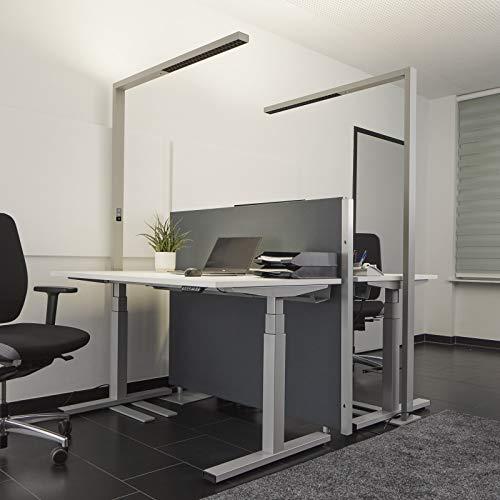 Lampenwelt LED Stehlampe 'Jolinda' (inkl. Touchdimmer) dimmbar mit Bewegungsmelder (Modern) in Alu aus Aluminium u.a. für Arbeitszimmer & Büro (A+, inkl. Leuchtmittel) - Büro-Stehleuchte, Bürolampe