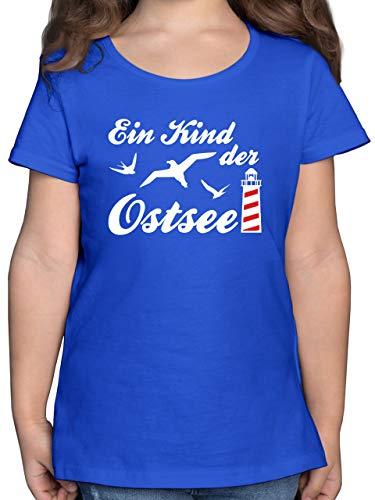 Sprüche Kind - Kind der Ostsee Leuchtturm weiß - 164 (14/15 Jahre) - Royalblau - Rundhals - F131K - Mädchen Kinder T-Shirt