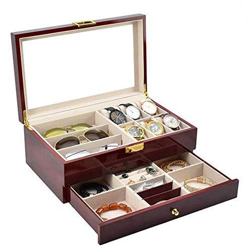 HRSS Männer Frauen Uhr-Anzeigen-Drawer Case- Double-Layer-Sprühfarbe Lagerung und Sunglass GlassDisplay 6-Uhr-Kasten Schmuckschatulle und 3 Stück Schublade Abschließbare Fall anizer
