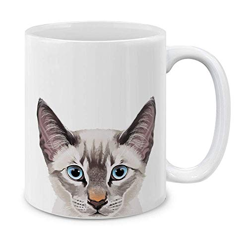 N\A Lynx Point Taza de té de cerámica con Gato siamés, Color Lila, de 11 onzas