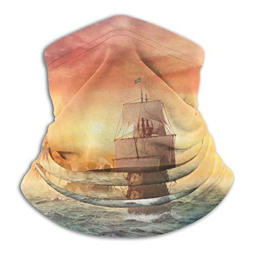 N/A Nahtlose Gesichtsmaske Bandanas Halswärmer Schal Gamasche Vintage Segeltuch Piratenschiff für Staub Outdoor Festivals Sport Winddicht Herren und Damen