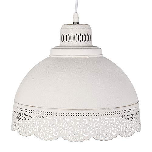 Lámpara de techo Lene Color Blanco con Punta borde patrón de agujeros Shabby Chic Franske rústico