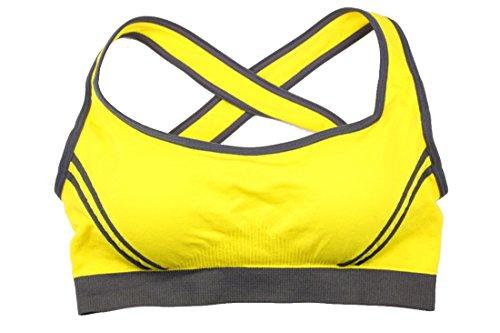 Luckywe Sujetador deportivo para mujer Cruz doble alto impacto soporte transparente Fitness Top sin mangas Elástico 77 Amarillo L(EU)