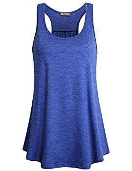 Cestyle Athletic Tank Tops for Women Loose Fit Girls Scoop Neck Summer Flows Hem Tunic Tee Workout Racerback Tanks Casual Form Fitting Sleeveless Shirts Going Out Clothing Blue X-Large