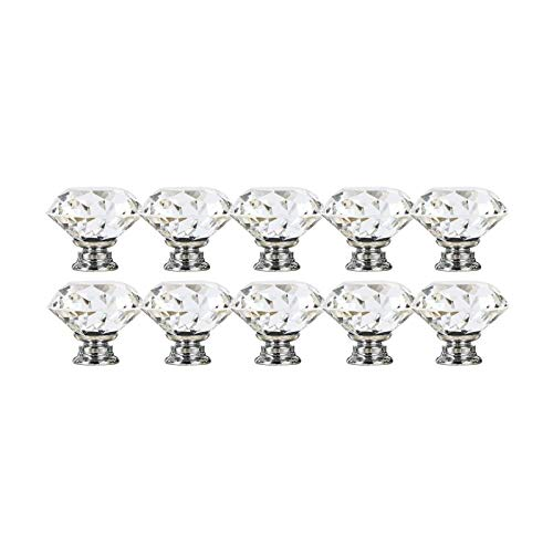 Crystal Gabinete Perillas, 10 Manijas De Cajones De Vidrio Transparentes Mangos De Puerta De Corte De Cristal Con Tornillos Perillas De Diamante Para Cocina De Cocina Decoración De Cajones De Oficina